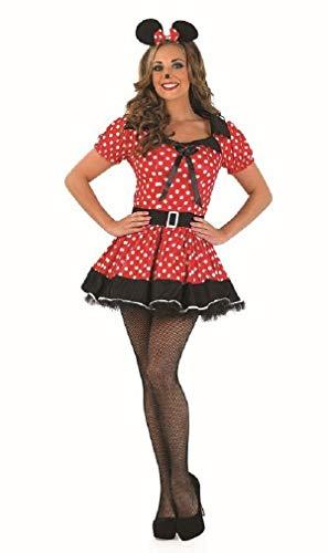 Minnie Übergröße Kostüm - Fancy Me Damen Sexy Rot Fräulein Minnie Maus Party Kostüm Outfit UK 8-26 Übergröße - Rot, 8-10