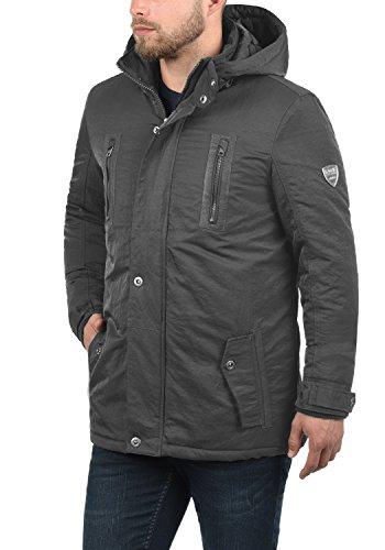 SOLID Daemon Herren Parka lange Winterjacke mit Stehkragen und Kapuze aus hochwertigem Material Dark Grey (2890)