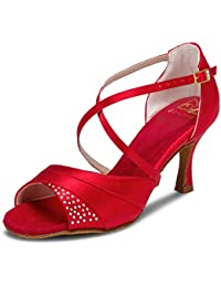 fe37e35bef1d JIA JIA 20522 Latin Women s Sandals 2.7   Flared Heel Super Satin with  Rhinestone Dance