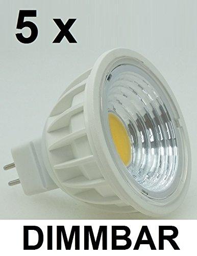 5 x 5 Watt COB LED-Spot Warmweiß 2700K, GU5.3 / MR16 dimmbar, 500 Lumen, entspr. ~ 50 W Halogen, 90° Ausstrahlung, Gehäusefarbe weiß