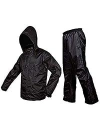 Starstep Men/Women Raincoat/Rainwear/Rainsuit/barsaati/Overcoat with Hoods and Side Pocket 100% Waterproof Portable rain Suit for Men/Women XL Size (Black)