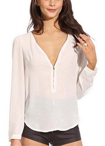 SHUNLIU Damen Sommer Blusen Langarm V-Ausschnitten Chiffon casual Shirts tanktops Oberteile Bluse Oberteile Weiß