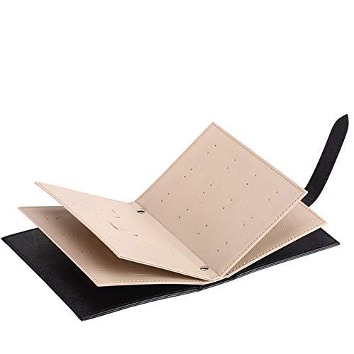iHOMIKI Frauen-Ohrring-Organisator-Buch PU-Leder-Ohrring-Halter Tragbarer Buch-Form-Ohrringe Ohrstecker Schmuck Aufbewahrungsbox Reise Schmuck-Buch für Reisen 1pc Schwarz