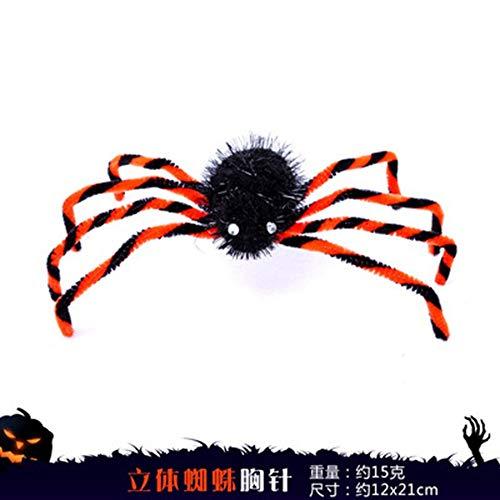 rationen Spinnen Pat Schwarz Kopf Schnallen Horror Kostüme Scary Big Spiders, Dreidimensionale Spinne Brosche, 12 * 21 cm ()