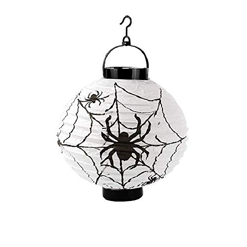 4 pz halloween pumpkin lantern di carta,alimentato a batteria ragno fata zucca luce della stringa luci decorative da interni esterni per giardino