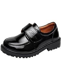hibote Zapatos Oxford para Niño - Zapatos de Vestir Formales de Fiesta de la Escuela Negra