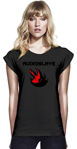 Baumwolle Rolled Sleeve Shirt (Audioslave Logo Womens Continental Rolled Sleeve T-Shirt Large)