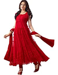 aae25545f8e Florence Women s Red Georgette Brasso Semi stitched Sawar Suit(SB-3117-NEW)