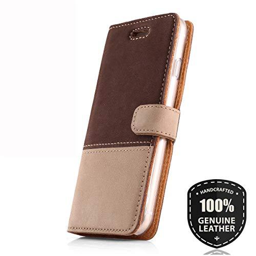 SURAZO Duo Premium Vintage Ledertasche Schutzhülle Wallet Case aus Echtesleder Nubukleder Farbe Braun/Beige für Nokia 6 2017 (5,50 Zoll)