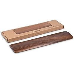 kalibri Soporte para la mano Premium en madera de nogal para trabajar ergonómicamente con el teclado - apoyo para muñeca para PC y portátil
