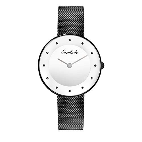 Emibele Women Stainless Steel Quartz Watch, Fashion Dot Dial 50M Water Resistant Wristwatch with 14mm Width Metal Mesh Band - Black Dial + Black Band -