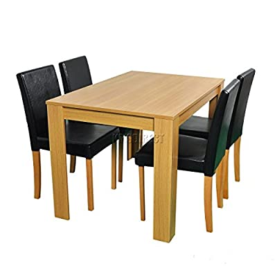 Modern style wooden Dining Table and 4 PU Faux Leather Chairs Set Furniture - low-cost UK light store.