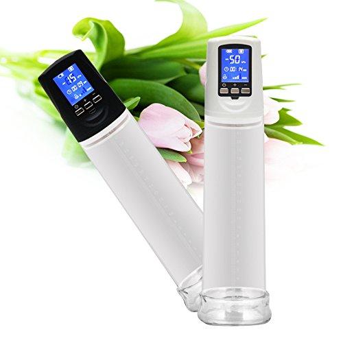 Risingmed Pompe à Pénis Électrique Avec LCD Écran Affichage numérique Erection pompe Pénis Agrandisseur Agrandissement Agrégat à manchon(Noir et Blanc) (Blanc)