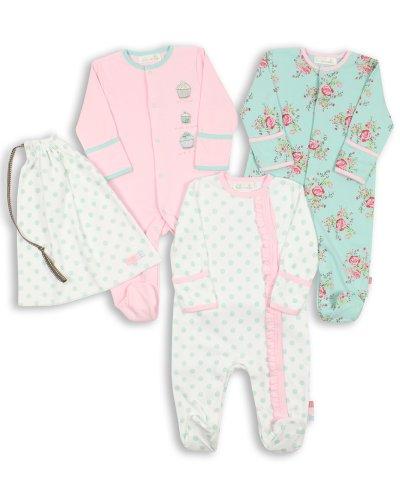 The Essential One - Baby Mädchen Schlafanzuge/Schlafanzug/Einteiler/ Strampler (3-er Pack mit Beutel) 56/62cm ESS75