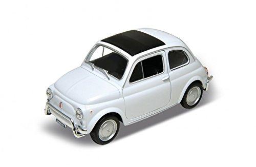 Original Welly- Fiat Nuova 500 weiß, Modellauto mit Rückzugmotor und öffenbaren Türen
