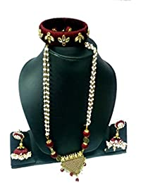 Prithvi Creations Silk Dori Sober Long Jewelery Set (Kundan Work) With Small Pearl Earring & Beautiful Bangel