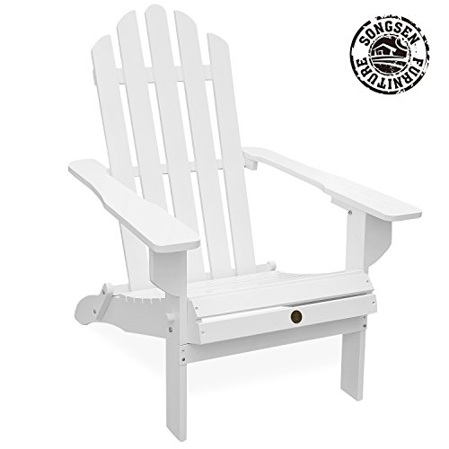 Songsen Unfished Outdoor Wooden Folding Adirondack Chairs Patio Deck Garden...