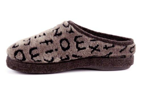 AM001 - Andres Machado - Das Original seit 1984 - MADE IN SPAIN - Fußbett - Hausschuhe im Plüschlook mit Buchstaben AM001 BUCHSTABEN Braun