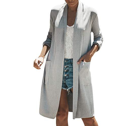 Lazzboy Damen Maxi Offene Strickjacke Cardigan Mantel mit Tasche Wasserfall Asymmetrische...
