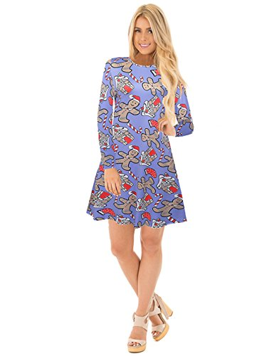 Donne Ugly Natale Dress Cartoon stampato Top Pullover Blu