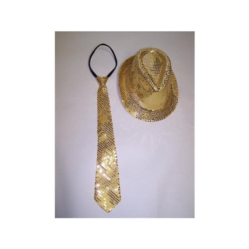 Kostüm Studio 54 - Glamourset mit Pailetten in gold