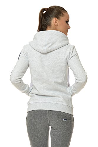 M.Conte Damen Sweatshirt Kapuzenjacke Hooded Sweater Sweat-Shirt-Jacke S M L XL Weiss Marine Blau Grau Melange Schwarz Pink Kapuze Rachel Weiß