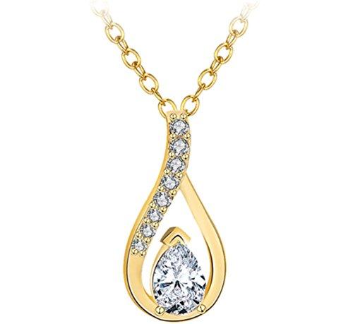 Da donna Con cristalli, placcata in oro 18kt semplice e 45+ 5cm Ciondolo Collana, Oro giallo, colore: White, cod. 2030546180