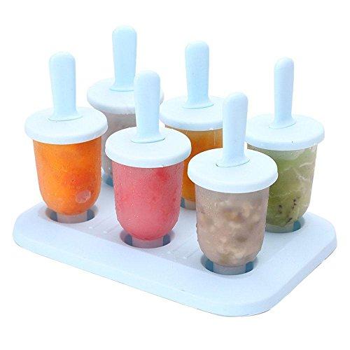 AOLVO 6Set Popsicles mit Tablett und dripguard Funktion wiederverwendbar Popsicle Formen Ice Pop Schimmel Maker für Erwachsene und Babys wiederverwendbar und waschbar, plastik, blau, Einheitsgröße (Schimmel Popsicle Baby)