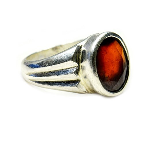 jewelryonclick 5,5?ct Hessonit Granat Edelstein Original natur 925?Sterling Silber Ring - 58 (18.5) (Hessonite Granat Ring)