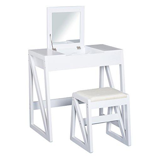 HomCom® Mesa para Maquillaje Tocador con Taburete Espejo Tapa Abatible 9 Compartimientos de Almacenaje...