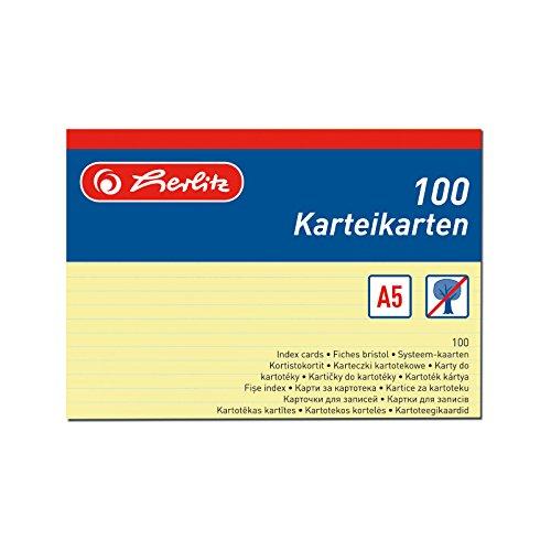 Preisvergleich Produktbild Herlitz 1150515 Karteikarte A5,  100 Stück,  gelb