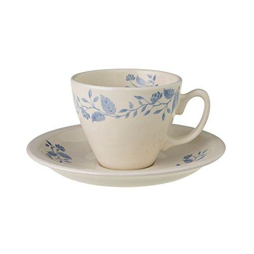 Fleurs Bleues 2 Tassen mit UNTERTASSE Royal BOCH Blumenmuster, Porzellan, 7 cm
