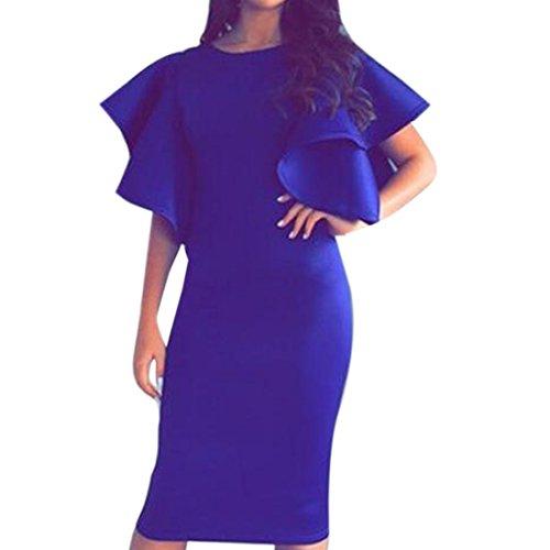 QIYUN.Z Femmes Falbala Mince Manches Courtes Nuit Solide Sur Robe Moulante Robe Crayon Wrap Bleu