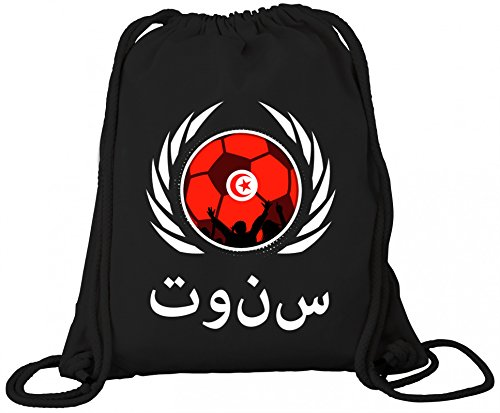 Tunisia Fanfest Football Wm Borsa Da Ginnastica In Cotone Organico Zaino Borsa Da Ginnastica Calcio Tunisia Nero