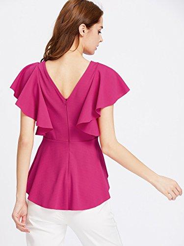 ROMWE Damen Bluse mit Volantärmeln Stretchig Figurbetonte Top Oberteil Dunkel Rosa