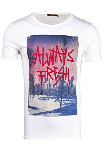 BOLF T-shirt Figurbetont Kurzarm GLO STORY 7476 Weiß XXL [3C3]  