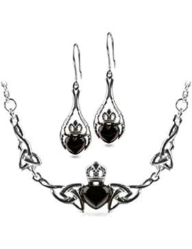 Kirschrot Bernstein Sterling Silber Claddagh Shmuckset Ohrringe Halskette 46 cm