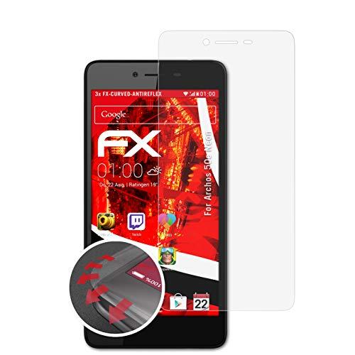 atFolix Schutzfolie passend für Archos 50e Neon Folie, entspiegelnde & Flexible FX Bildschirmschutzfolie (3X)