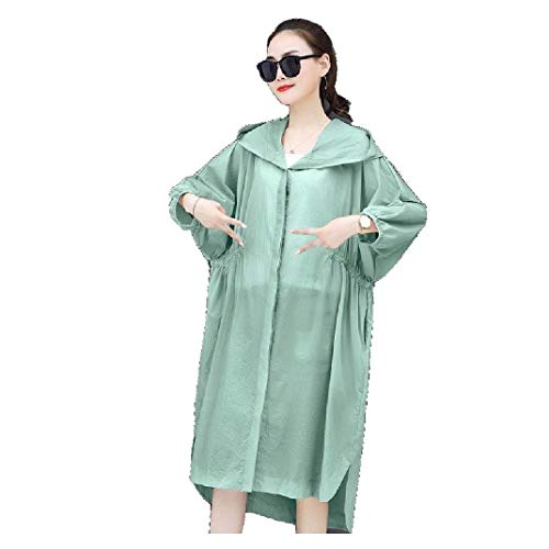 CuteRose Womens Hoodie Sunscreen Casual Solid Color Baggy Jacket Overcoat Green 2XL Wool Blend Trench