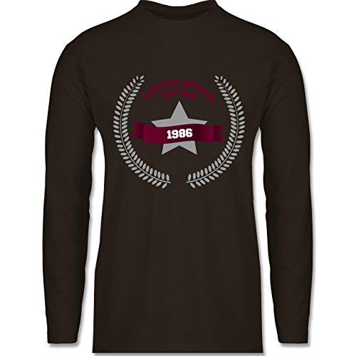 Shirtracer Geburtstag - 1986 Limited Special Edition - Herren Langarmshirt Braun