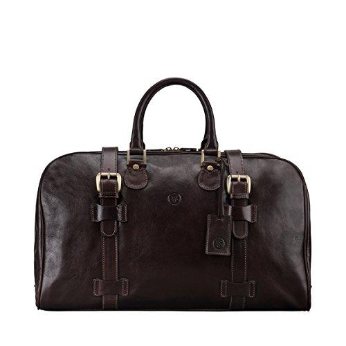Maxwell-Scott® Luxus Leder Reisetasche in Dunkelbraun (FleroM)