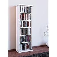 VCM 21027 - Torre porta CD/DVD, in legno e vetro, per 150 CD, 88 x 31 x 18 cm, colore: Bianco - Trova i prezzi più bassi su tvhomecinemaprezzi.eu