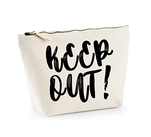Keep Out - Fun Slogan, Make Up and Cosmetics Bag, Accessory Organiser Natural/Black