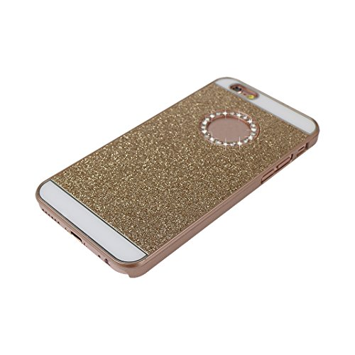iPhone 7 Hülle Glitzer, Rosa Schleife Ultra Dünn PC Hart Cases BackCover Crystal Glitzer Schutzhülle Handyhülle Bumper Schale für iPhone 7 Gold