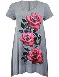 Purple Hanger - Tunique Femme Ourlet Inégal Manche Courte Imprimé Floral Rose Jersey Grande Taille Neuf