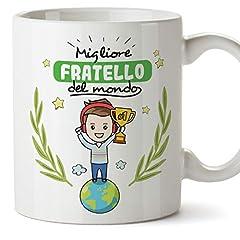 Idea Regalo - Mugffins Fratello Tazze Originali di caffè e Colazione da Regalare confratelli - Migliore Fratello del Mondo - Ceramica 350 ml