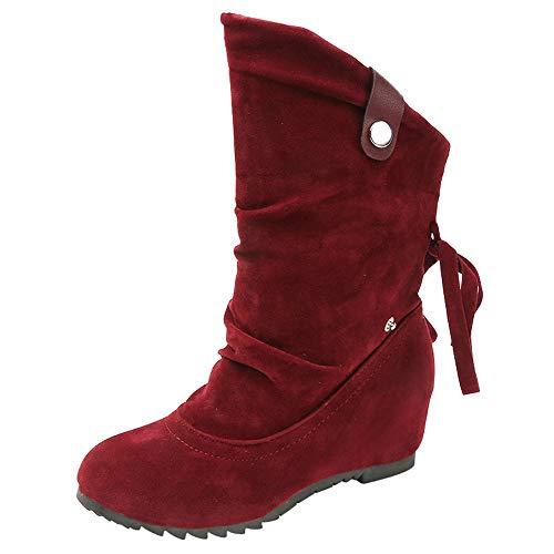 Warm Winterstiefel Damen,Elecenty Frauen Stiefel Stiefeletten Boots Plateauschuhe Chelsea Boots Schlauchstiefel Winterboots Freizeitschuhe Westernstiefel