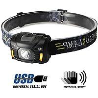 Fitself Lampe Frontale à LED | Accessoire Portable 3W pour Activités de Plein Air | Rechargeable USB | 5 Modes d'Éclairage et Orientable 60 ° | Randonnée, Running, Camping, Survie, VTT | Étanche