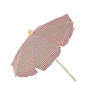 Abama 42cm Strandschirm, gestreift, weiß/rot