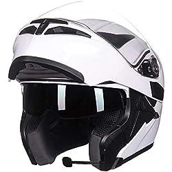 MTCTK Casque de Moto Bluetooth avec interphone Moto Fonctionnel Flip up Casque avec Double lentille Anti-Brouillard,B,M